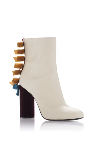 Medium marco de vincenzo off white leather bow bootie