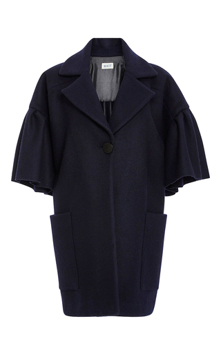 Medium whit navy lou cashmere wool coat