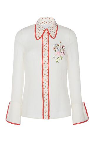 Medium manoush white romance floral shirt