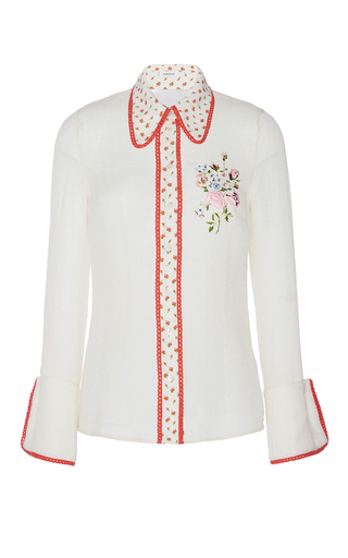 Medium manoush white romance floral shirt