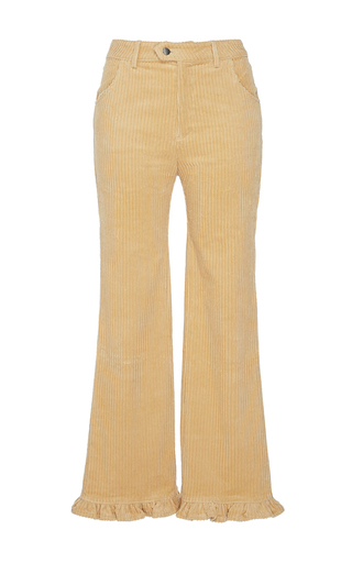 Medium manoush tan velvet corduroy ruffle trouser