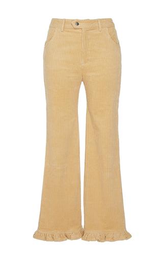 Medium manoush tan velvet corduroy ruffle trouser