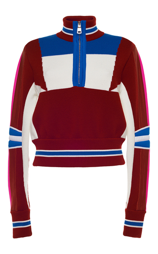 Medium emilio pucci burgundy merino wool zip up sweater