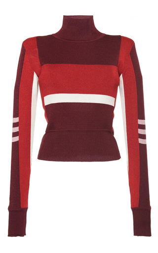 Medium emilio pucci burgundy burgundy colorblocked turtleneck pullover