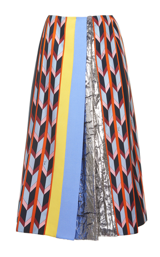 Medium emilio pucci print metallic chevron a line skirt