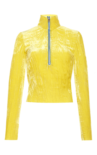 Medium emilio pucci yellow yellow crinkled velvet long sleeve top
