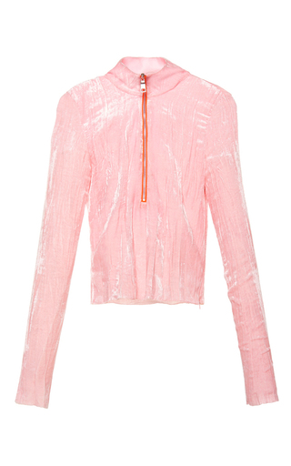 Medium emilio pucci pink pink crinkled velvet long sleeve top