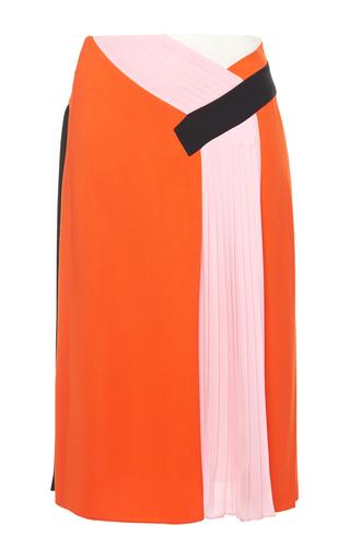 Medium emilio pucci orange pink colorblocked pleated skirt