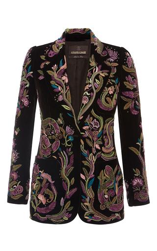 Medium roberto cavalli black floral threadwork embroidered blazer