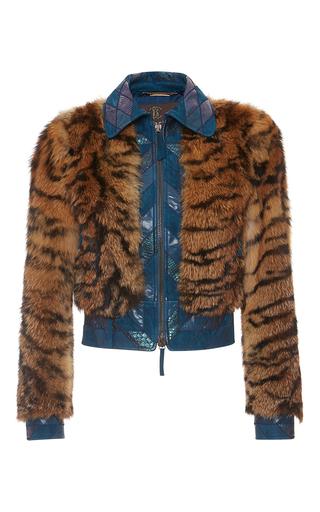 Medium roberto cavalli print fox fur and python jacket