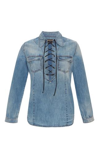 Medium roberto cavalli light wash lace up denim shirt