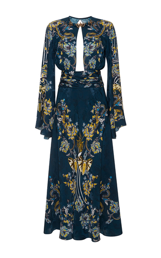 Medium roberto cavalli blue bell sleeve cutout dress
