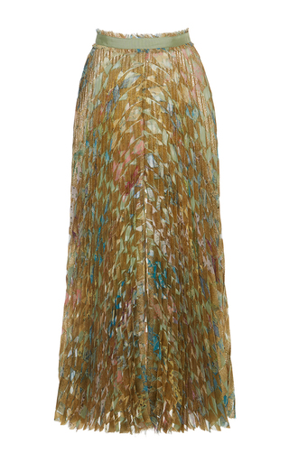 Medium roberto cavalli green pleated midi skirt