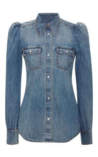 Medium roberto cavalli blue button up denim shirt