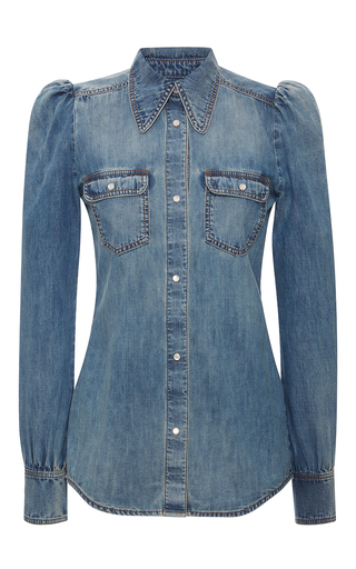 Medium roberto cavalli blue button up denim shirt