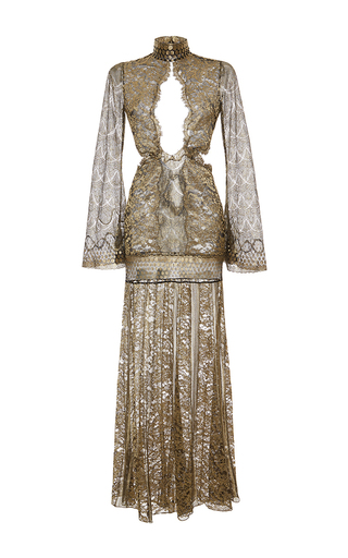 Medium roberto cavalli gold metallic lace keyhole long dress