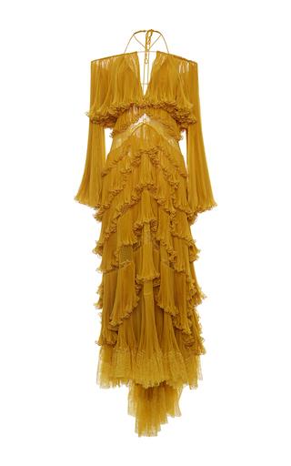 Medium roberto cavalli gold tiered off the shoulder gown
