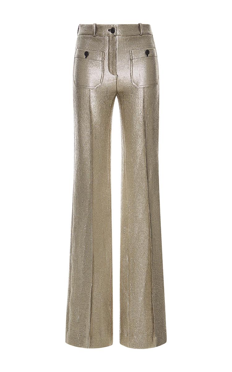 67dcd8f147e Gold Metallic Flared Pants by Roberto Cavalli