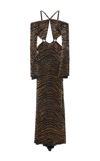 Medium roberto cavalli metallic cutout halter dress