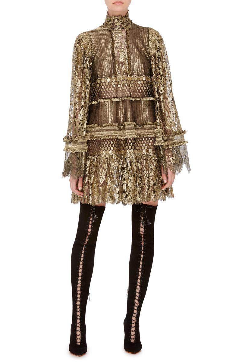 Metallic Turtleneck Lace Short Dress By Roberto Moda
