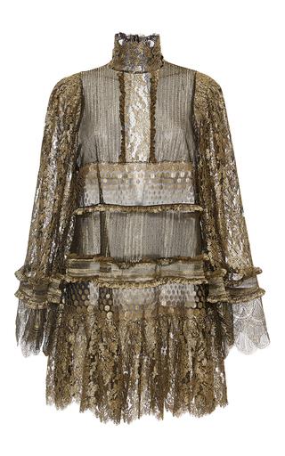 Medium roberto cavalli gold metallic turtleneck lace blouse