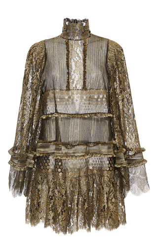 Medium roberto cavalli gold metallic turtleneck lace blouse