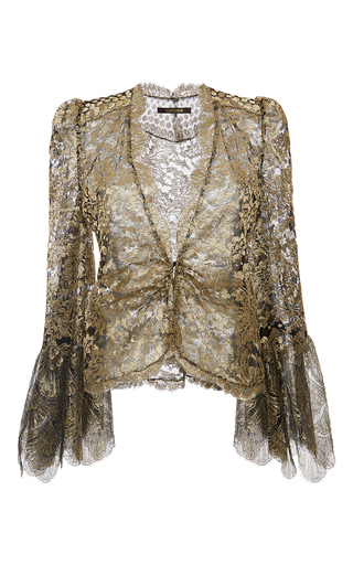 Medium roberto cavalli gold gold metallic embellished ruched blouse