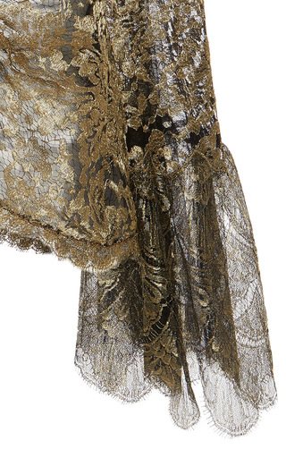 Gold Metallic Embellished Ruched Blouse by ROBERTO CAVALLI Now Available on Moda Operandi