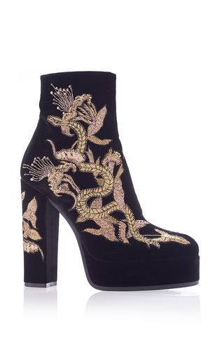 Medium roberto cavalli black embroidered scarpa ankle boot