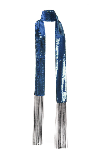 Medium roberto cavalli blue blue sequinned silk scarf