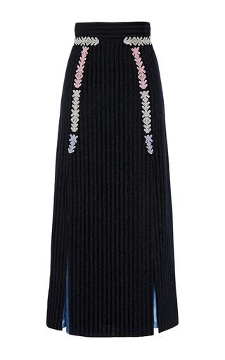 Navy Velvet Midi Skirt by PETER PILOTTO Now Available on Moda Operandi