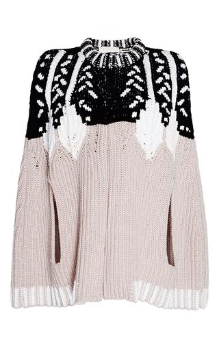 Medium peter pilotto tan intarsia knit cape