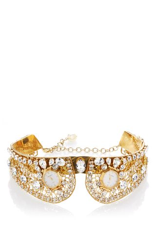 Medium dolce gabbana gold gold collar with crystal embellishment