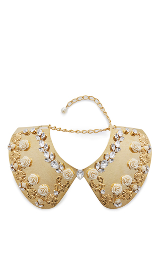 Medium dolce gabbana gold gold collar with flower and crystal embellishment