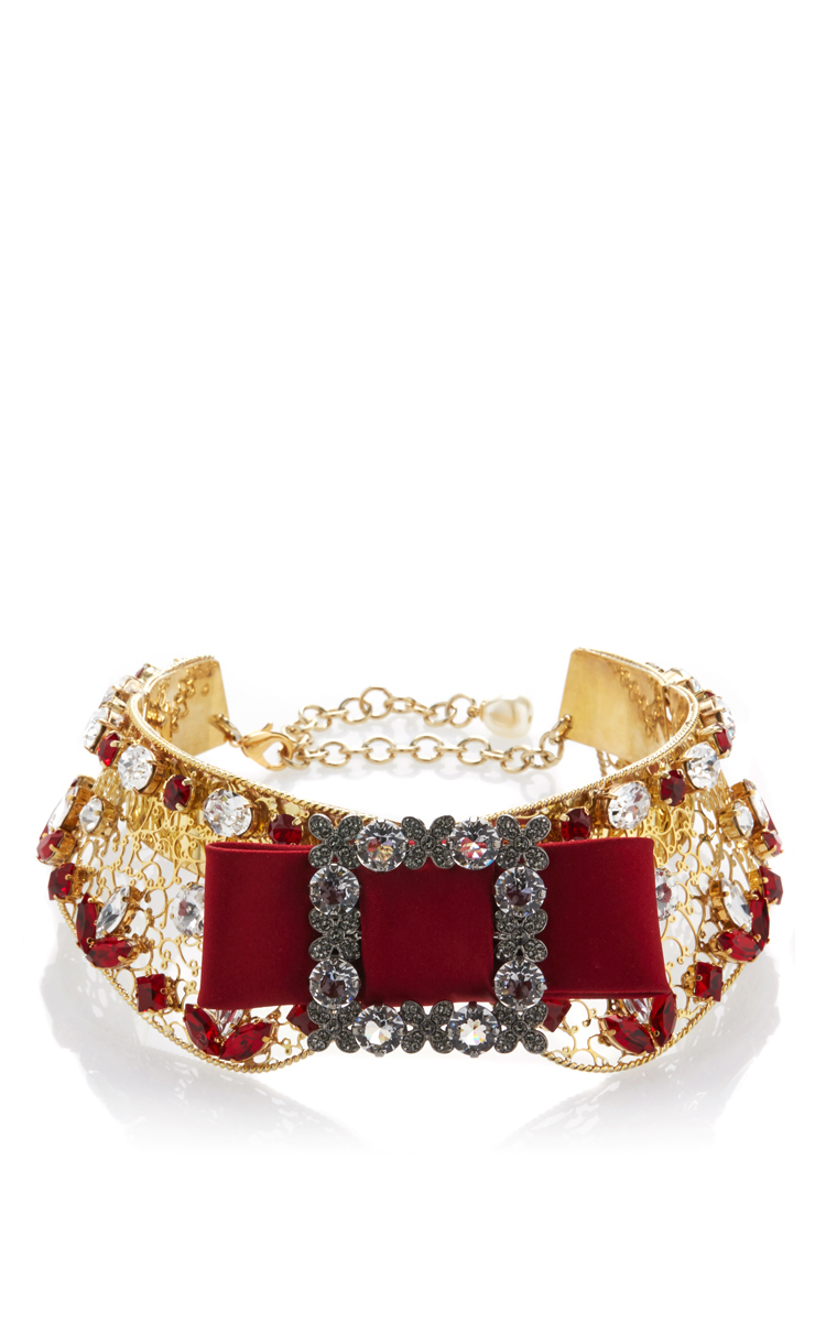 53c86ddde5814 Embellished Gold Collar with Red Bow