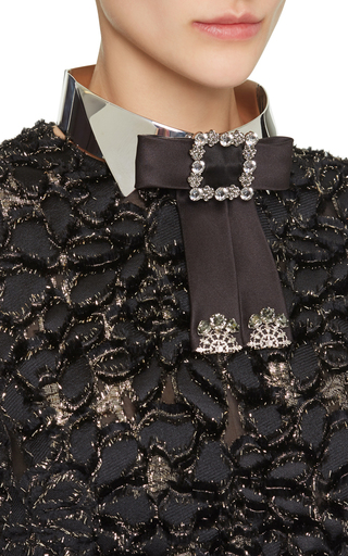 Embellished Silver Collar With Studded Black Bow  by DOLCE & GABBANA Now Available on Moda Operandi