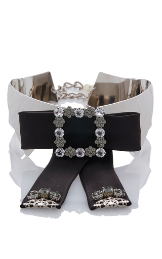 Medium dolce gabbana silver embellished silver collar with studded black bow
