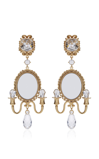Medium dolce gabbana gold mirror on the wall chandelier earrings