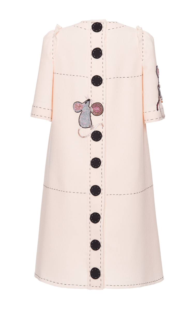 e1201e1c Crepe Shift Dress with Embellished Mouse Motif by | Moda Operandi