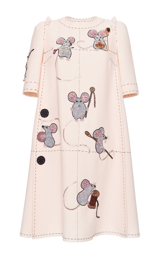 Medium dolce gabbana white crepe shift dress with embellished mouse motif