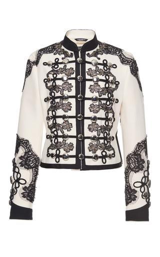 Medium dolce gabbana black white lace embellished military jacket