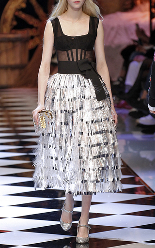 Corseted Tinsel Dress by DOLCE & GABBANA Now Available on Moda Operandi