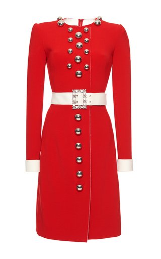 Medium dolce gabbana red crepe tin soldier belted dress