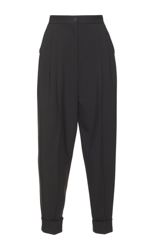 Medium dolce gabbana black pleated front cropped pant