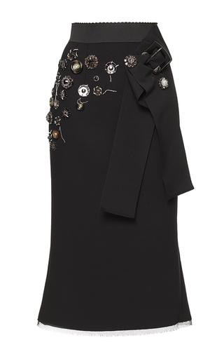 Medium dolce gabbana black button embellished fluted skirt