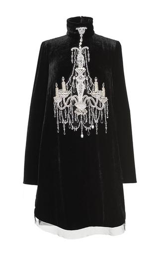 Medium dolce gabbana black velvet chandelier turtleneck dress