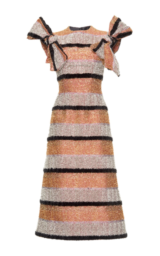 Medium dolce gabbana multi striped lurex fitted dress