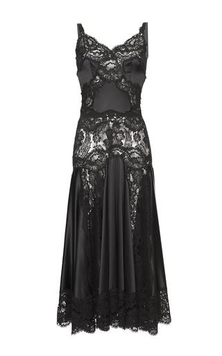 Medium dolce gabbana black chantilly lace godet charmeuse slip dress