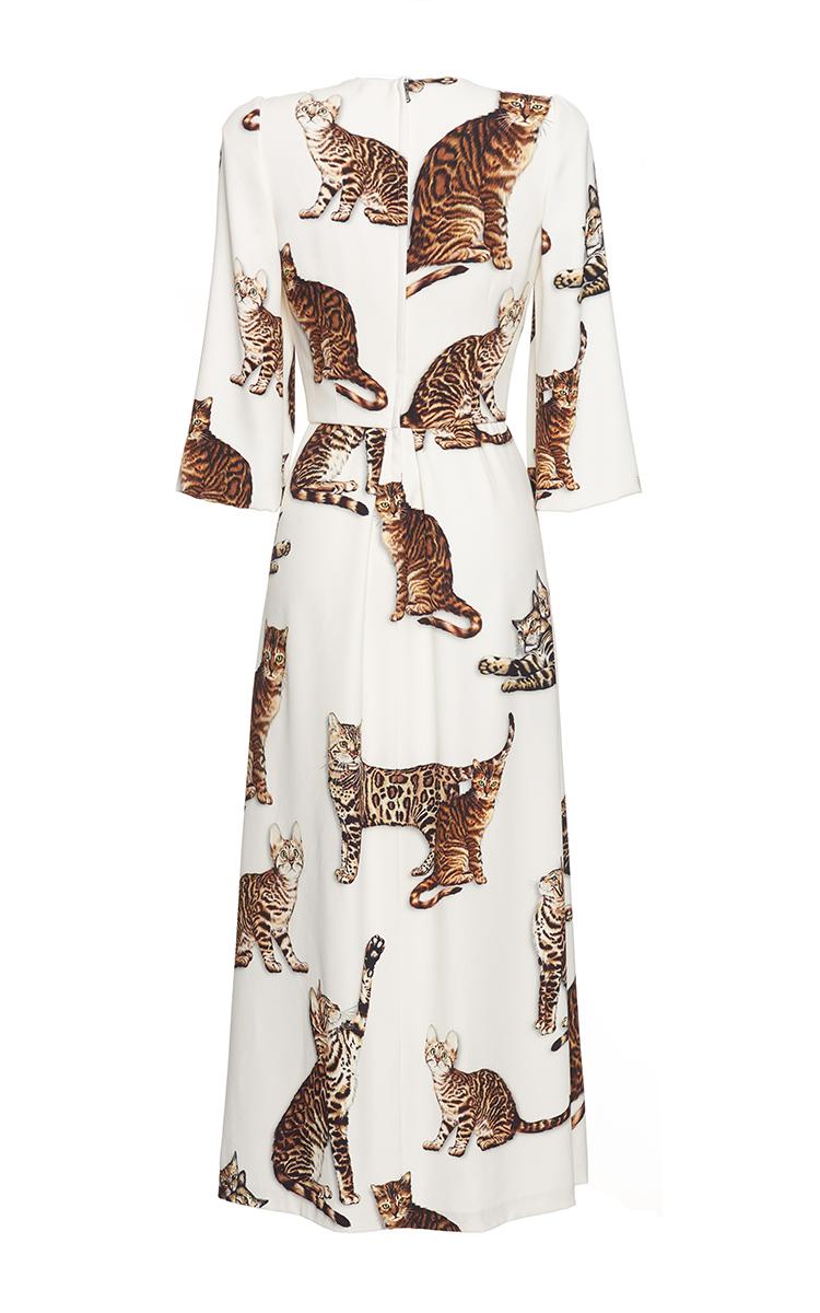 Bengal Cat Print Midi Dress By Dolce Amp Gabbana Moda Operandi