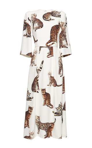 Medium dolce gabbana print bengal cat print midi dress